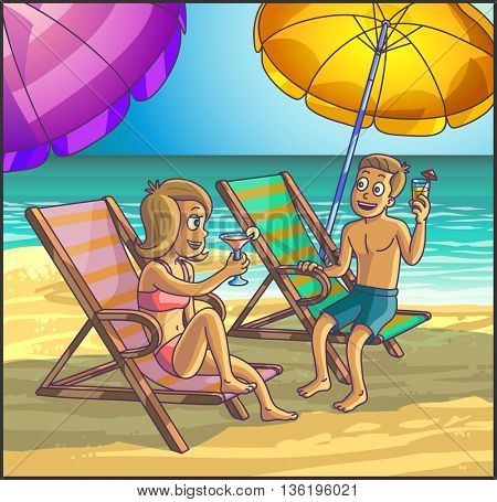 Summer tropical relax leisure scene on the beach. Happy couple are having fun on summer beach. Tourists on the beach. Vector Illustration.