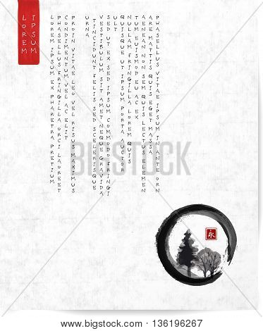 Design template with Trees in black enso zen circle and place for your text on vintage rice paper background. Traditional Japanese ink painting sumi-e. Contains hieroglyph - well-being