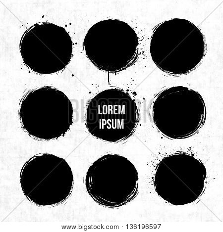 Black grunge circles with splashes on grunge background with place for your text Vector illustration.