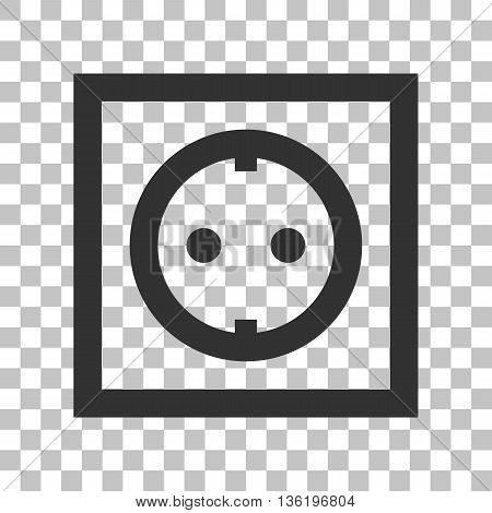 Electrical socket sign. Dark gray icon on transparent background.