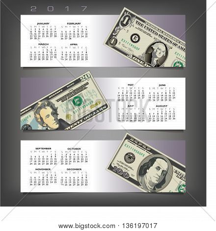 2017 calendar with three money banners and space for type