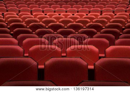 Close up of generic red theater seats