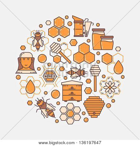 Honey and beekeeping round illustration. Vector flat apiary symbol. Honey farm yellow sign