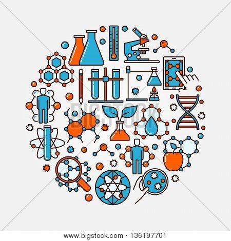 Biotechnology flat round symbol. Vector science and chemistry illustration concept. Molecular biology colorful sign