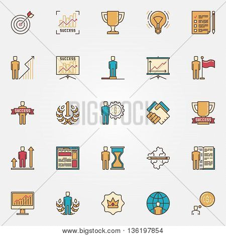 Colorful success icons. Vector flat self development symbols. Success in business signs