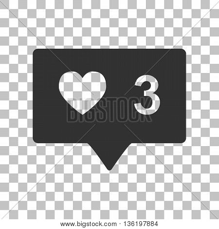 Like and comment sign. Dark gray icon on transparent background.