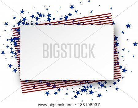 Background with American flag. Vector paper illustration.