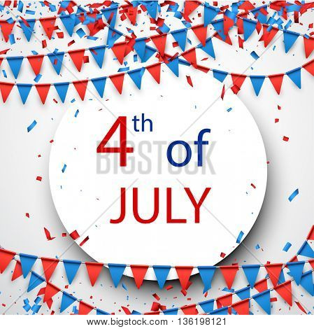 4th of July Independence Day background with flags. Vector paper illustration.