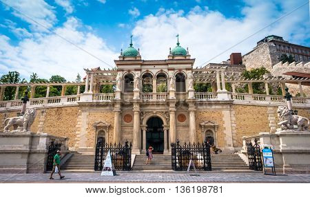 Budapest, Hungary - July 07, 2015: view on stairs in Buda castle from street