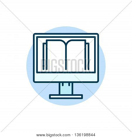 Online education flat icon. Vector PC with book colorful sign. E-learning or e-reading concept illustration