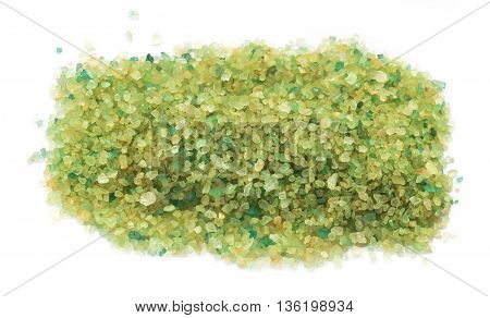 background of large salt crystals colorful yellow green bath with juniper spa