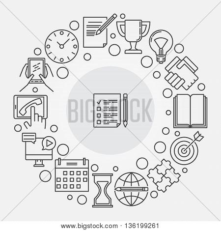 To do list illustration. Vector round to-do list and planning linear symbol. Checklist creative sign in thin line style