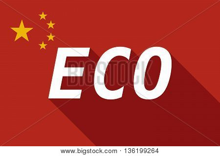 Long Shadow China Flag With    The Text Eco