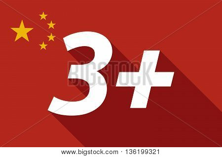 Long Shadow China Flag With    The Text 3+