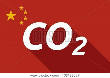 Long Shadow China Flag With    The Text Co2