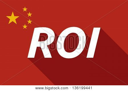 Long Shadow China Flag With    The Return Of Investment Acronym Roi