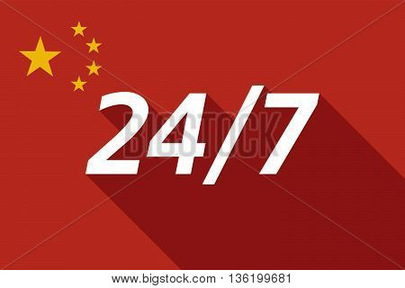 Long Shadow China Flag With    The Text 24/7