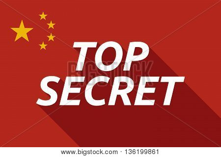 Long Shadow China Flag With    The Text Top Secret