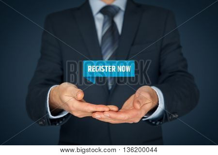 Businessman hold virtual label with text register now.