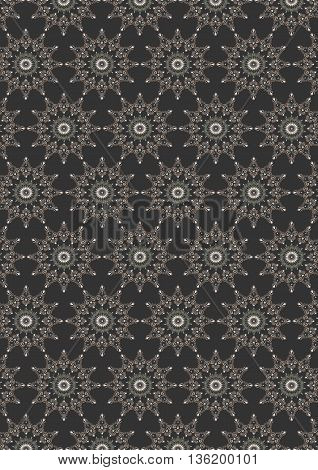 Seamless colored oval  floral pattern on dark gray background