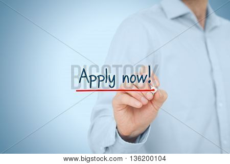 Businessman (recruiter) write text apply now - human resources concept.