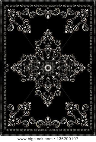 Silver luxury frame with vintage  ornament on black background