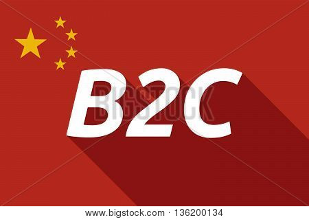 Long Shadow China Flag With    The Text B2C