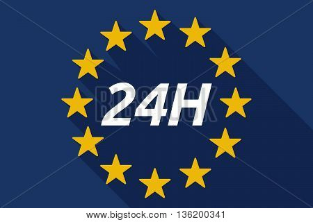 Long Shadow European Union Flag With    The Text 24H