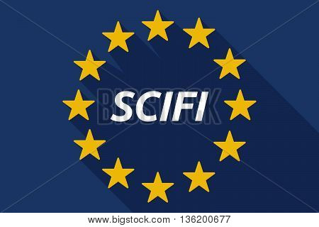 Long Shadow European Union Flag With    The Text Scifi