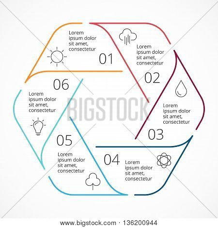 Circle arrows diagram for graph infographic presentation with 6 steps parts options.