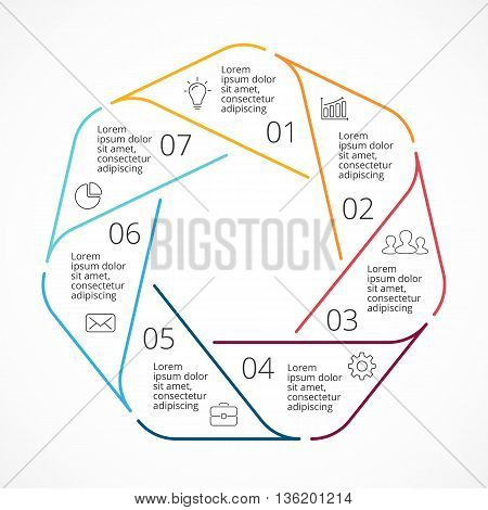 Circle arrows diagram for graph infographic presentation with 7 steps parts options.