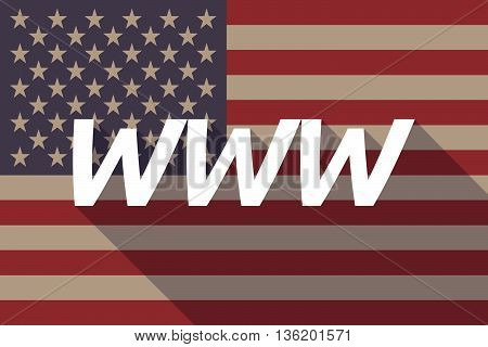 Long Shadow Usa Flag With    The Text Www
