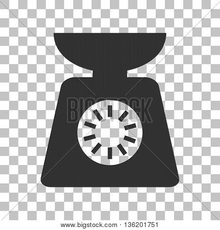 Kitchen scales sign. Dark gray icon on transparent background.