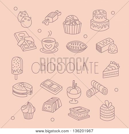 Chocolate Related Object Set With Text Hand Drawn Simple Vector Illustration Is Sketch Style