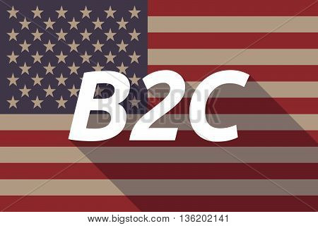 Long Shadow Usa Flag With    The Text B2C