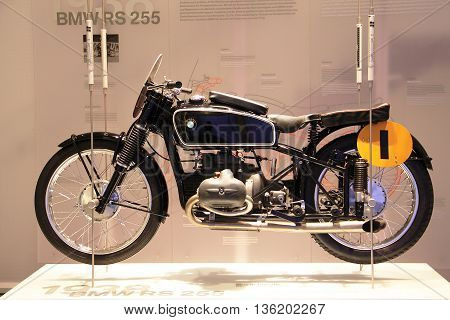 Munich Germany - April 2012: Display of motorcycle model BMW RS 255 year 1938 in BMW Museum