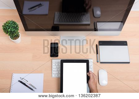 Top View Office Hand Working On Tablet
