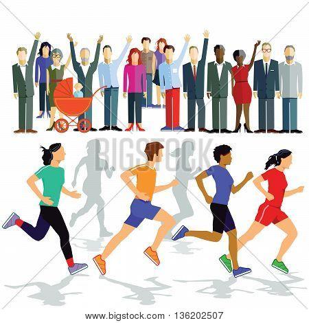 Runners with Puplikum, marathon, athlete, sportsman, sportswoman, jogging
