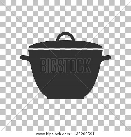 Saucepan simple sign. Dark gray icon on transparent background.
