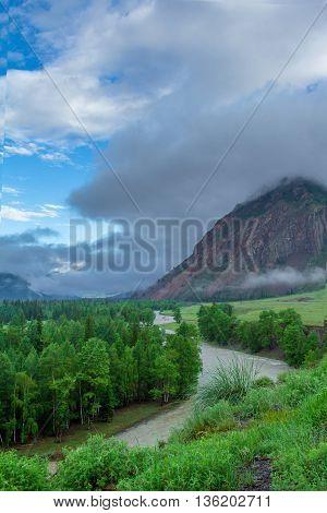 Rocky Shore Of A Mountain River