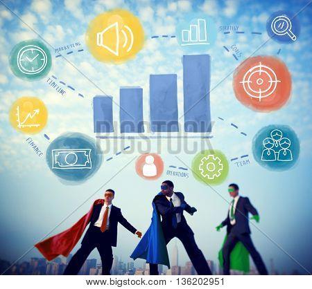 Superhero Businessmen Growth Development Concept