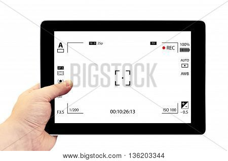 Tablet Photography Concept. Taking Pictures On A Tablet. Empty Tablet Pc In Hand Isolated On White.