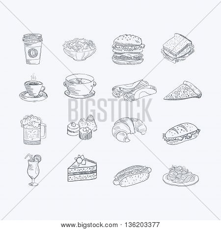 Food And Drink Hand Drawn Artistic Sketch Set Of Monochrome Vector Icons On White Background