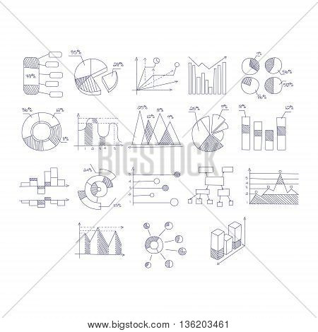 Different Type Of Hand Drawn Charts Set Of Sketch Style Monochrome Vector Icons On White Background