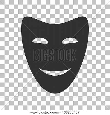 Comedy theatrical masks. Dark gray icon on transparent background.