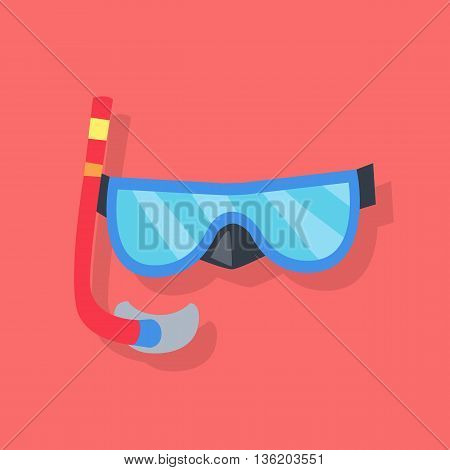 Blue mask and red tube for diving with snorkel isolated on red background. Vector illustration