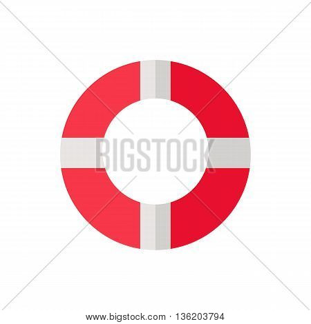 Vector illustration of a red white lifeline lifebuoy on white background
