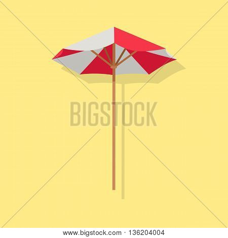 Beach red white umbrella with shadow. Sun parasol icon isolated. Vector Illustration