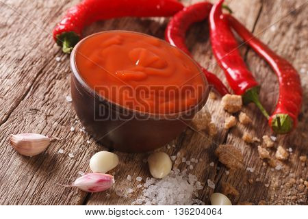 Spicy Thai Sriracha Sauce With Ingredients Close-up. Horizontal