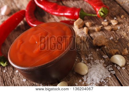 Red Chilli Sauce Sriracha With Ingredients. Horizontal, Macro
